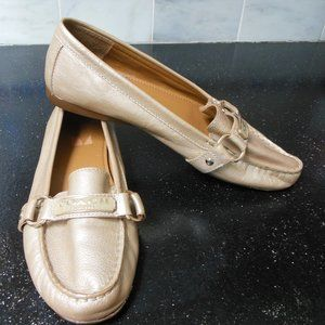 Coach Faye Pearlized Gold Loafers